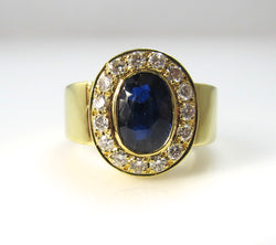 18k yellow gold 2ct natural sapphire diamond ring