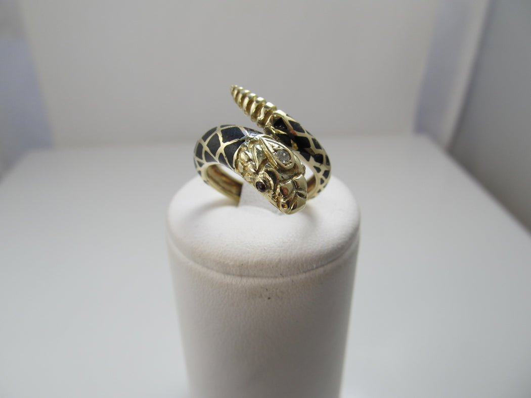 Estate 14k gold enamel diamond snake wrap ring