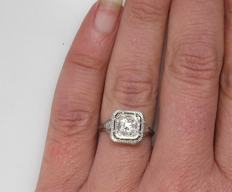 Antique .77ct diamond ring, 18k white gold filigree
