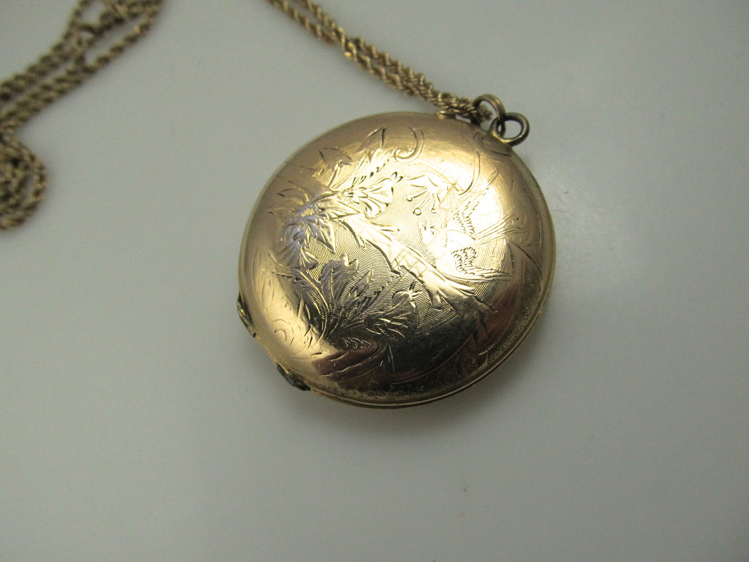 Large antique 14k enamel locket, circa 1910