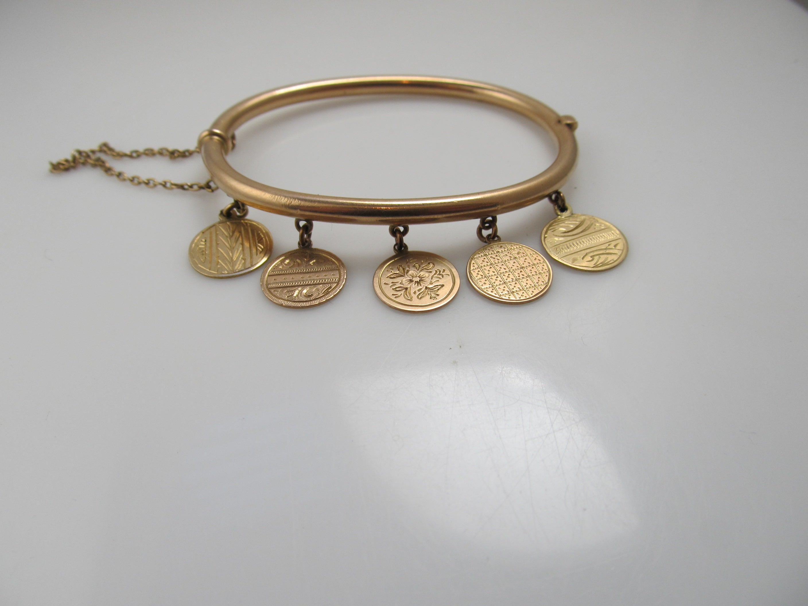 Antique 10k rose gold charm bangle bracelet