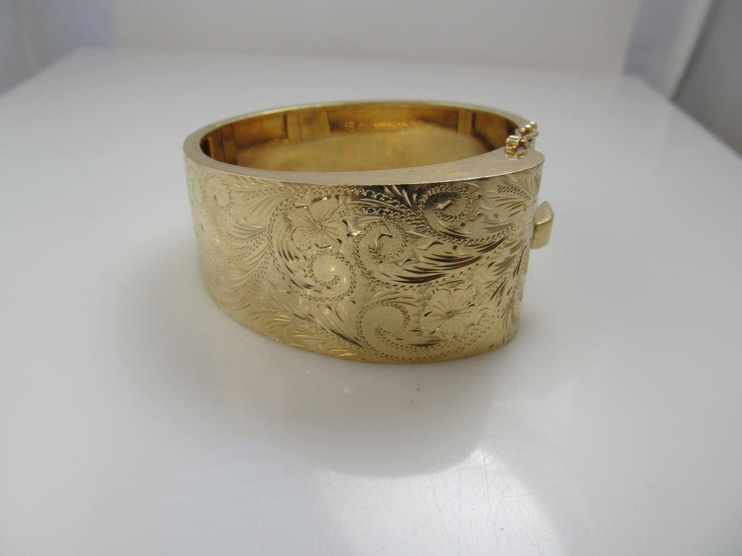 Wide 14k yellow gold hand engraved bangle bracelet