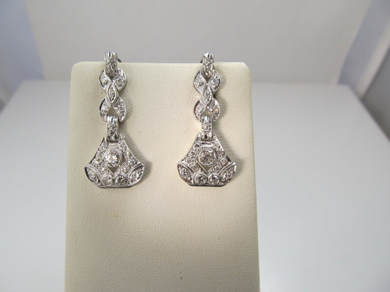 Vintage platinum drop earrings with 2cts in diamonds