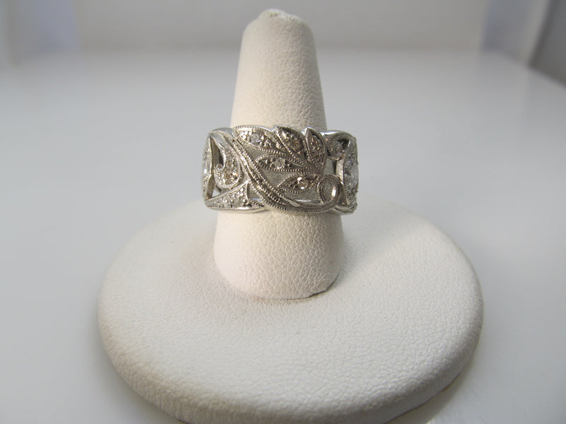 Amazing wide antique platinum diamond eternity band