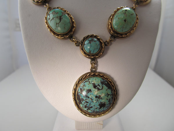 Fabulous handmade turquoise and rose gold necklace