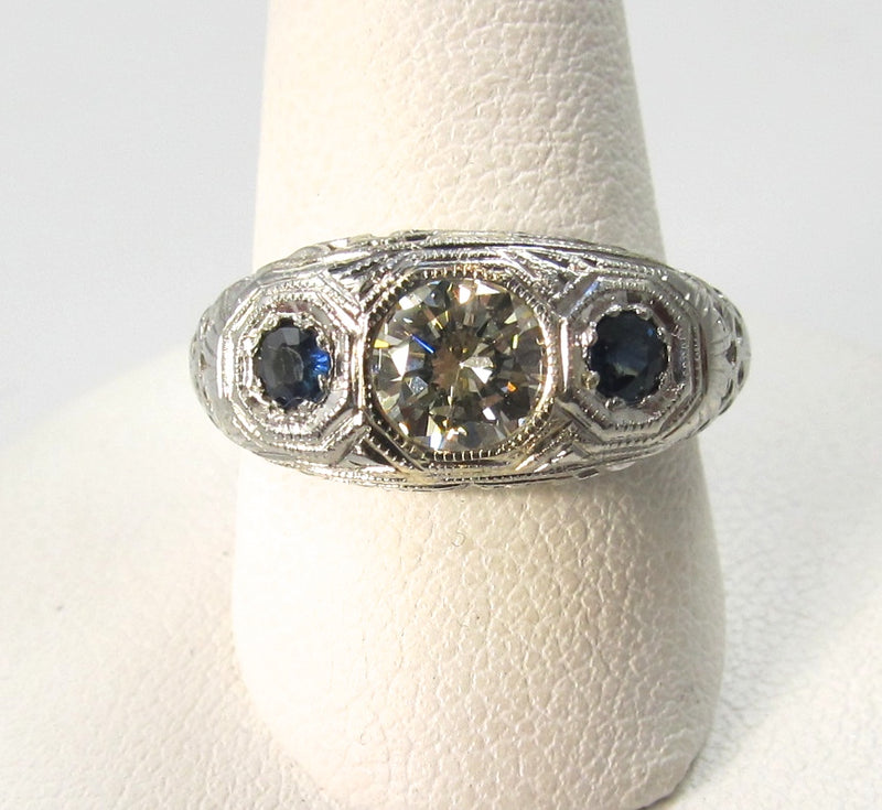 antique diamond sapphire ring, victorious, cape may, antique jewelry