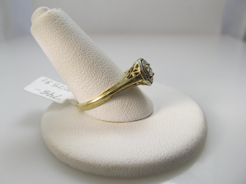 Vintage 14k yellow gold filigree diamond ring
