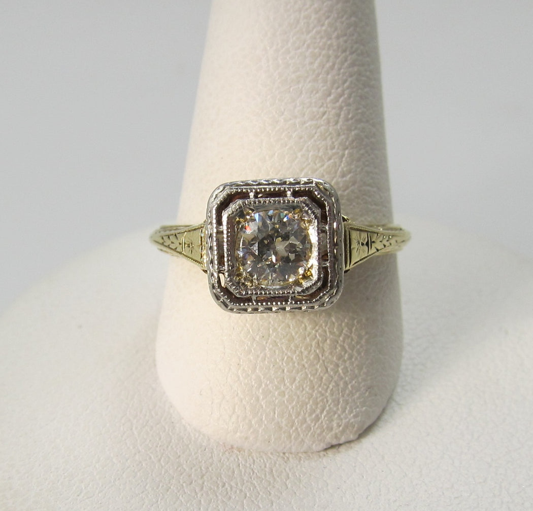 Vintage 18k yellow gold filigree diamond engagement ring