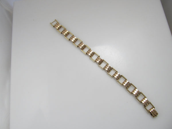 Vintage retro 14k rose and yellow gold bracelet