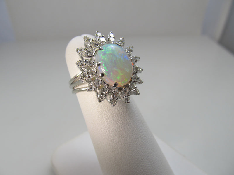 2.50ct opal diamond ring, 14k white gold