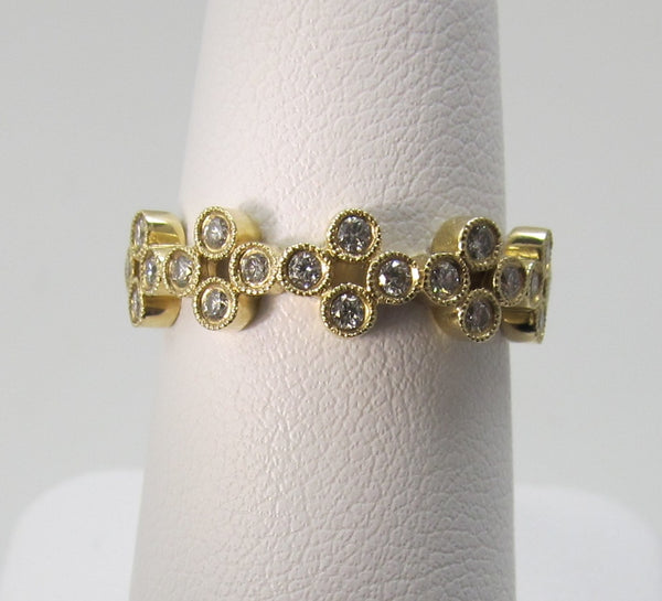 Gabriel 14k yellow gold bezel set diamond band