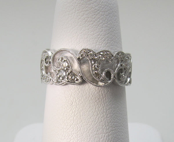 Gabriel wide white gold diamond stack band