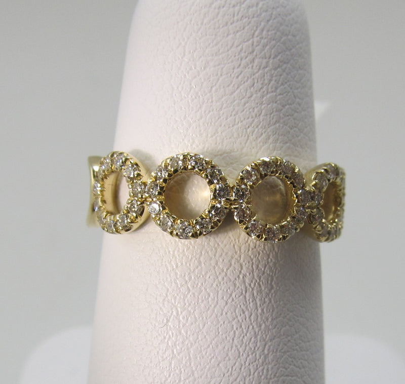 Gabriel 14k yellow gold circle diamond stack band