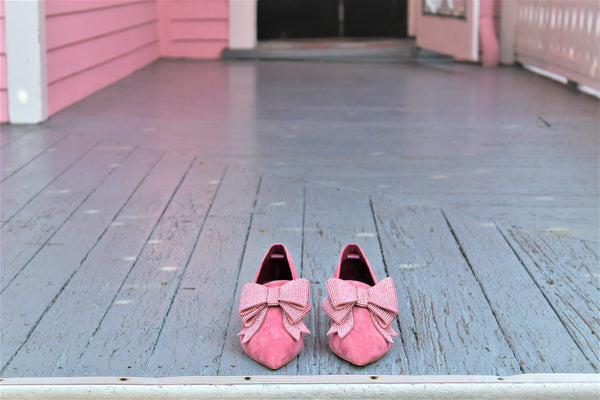 Valegra Crystal Bow pink suede pumps
