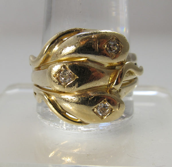 Vintage 14k yellow gold triple snake wrap ring