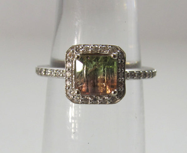 Estate 14k white gold diamond watermelon tourmaline ring