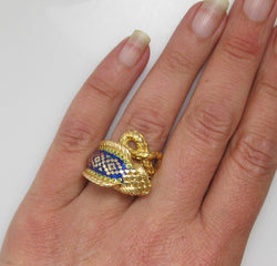 Super cool 18k enamel cobra snake ring