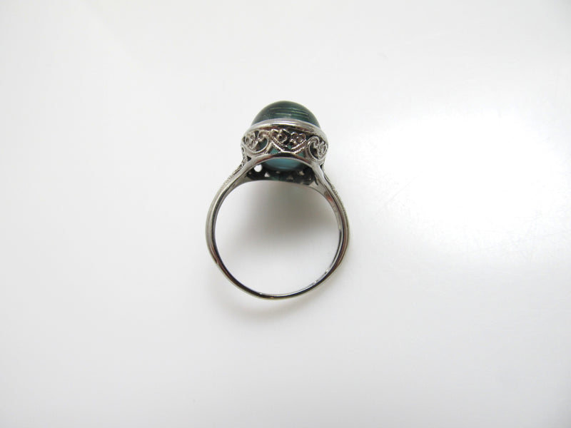 Vintage 8.50ct cat's eye tourmaline filigree ring