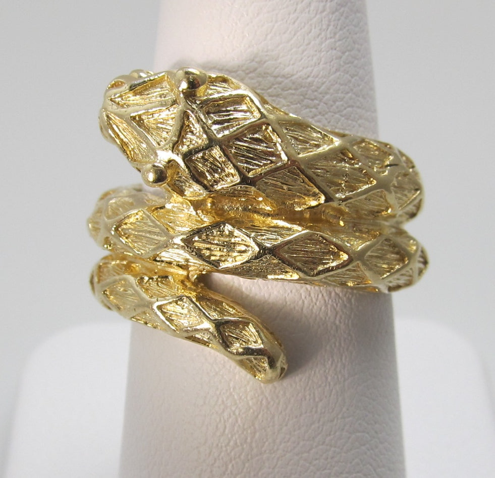 Estate 14k yellow gold snake wrap ring