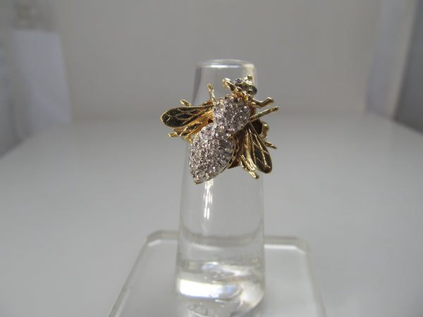 Diamond bee ring, 14k yellow gold