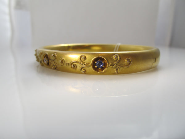 Antique sapphire diamond bangle bracelet, circa 1900