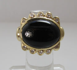 Estate big 14k yellow gold onyx diamond ring