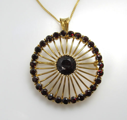 Vintage retro 18k yellow gold garnet necklace
