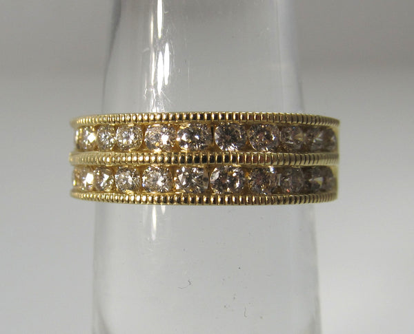 14k yellow gold double row diamond band