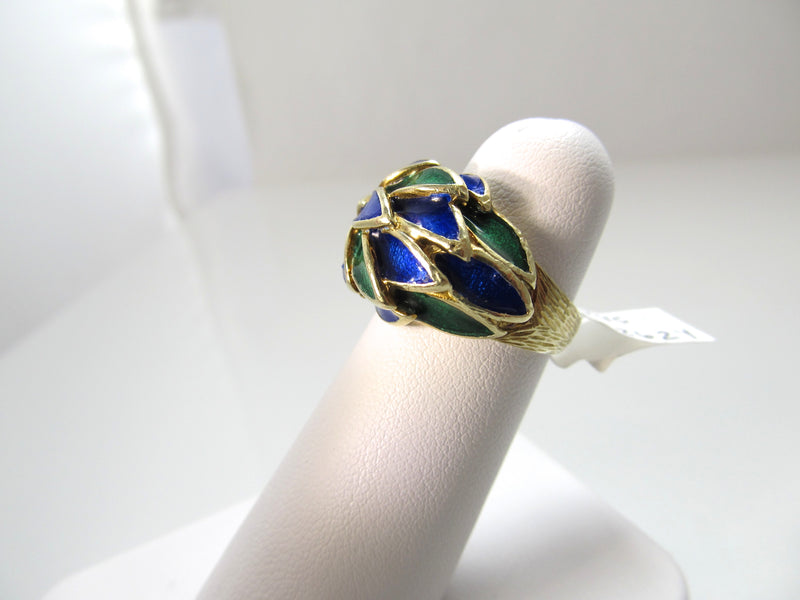 Vintage 14k yellow gold green blue enamel ring