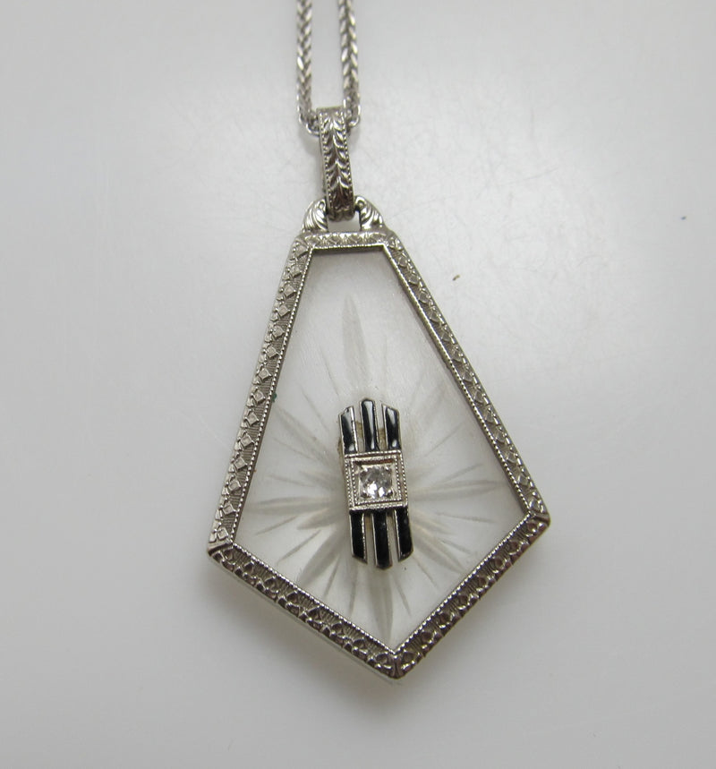 Art Deco camphor glass necklace with a diamond and enamel