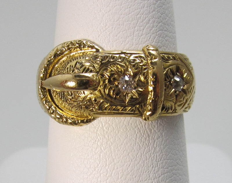 Victorian 18k yellow gold diamond buckle band ring