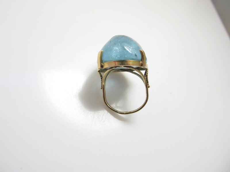 HUGE 30.00ct cabochon cut aquamarine ring