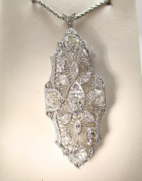 Art Deco platinum filigree necklace with 3.00cts in diamonds