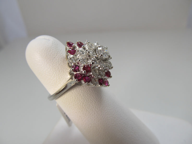 1.25ct diamond and ruby cocktail ring