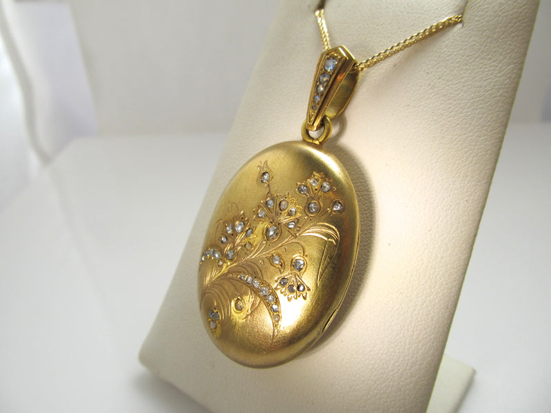 French Victorian 18k locket with rose cut diamonds