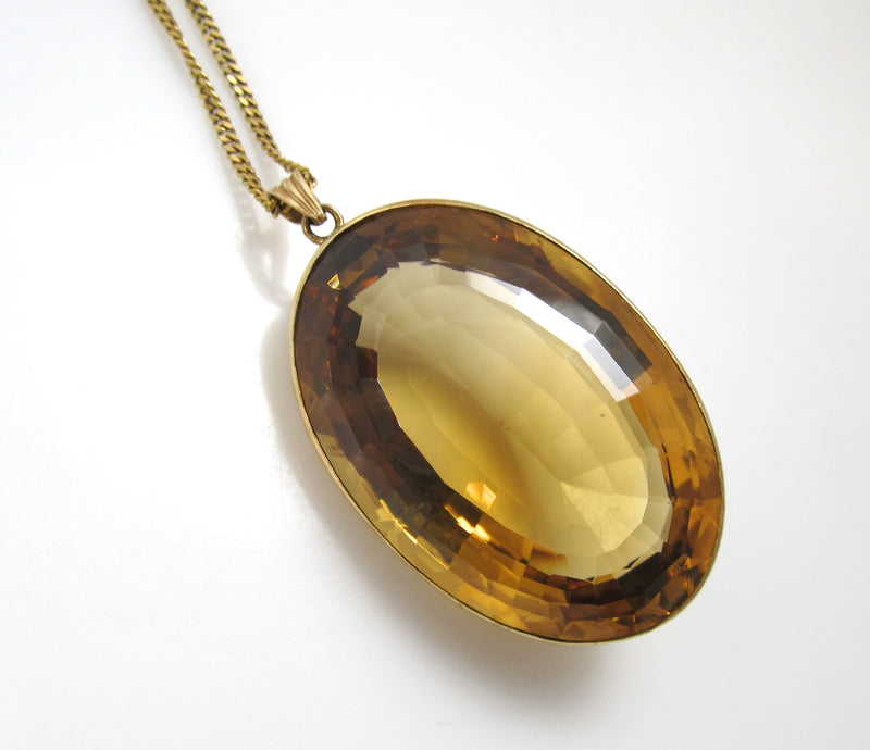 175.00ct natural citrine necklace, 14k yellow gold