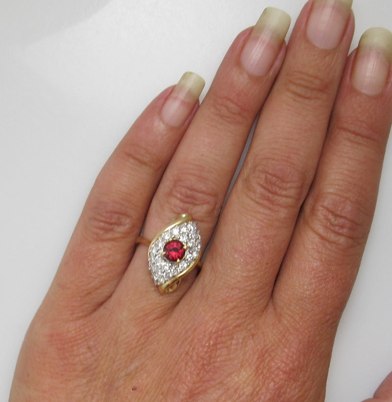 Estate 14k .50ct ruby, 1ct diamond ring