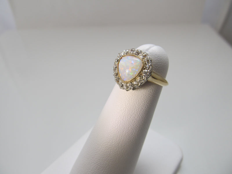 Antique 14k gold ring with opal and diamond