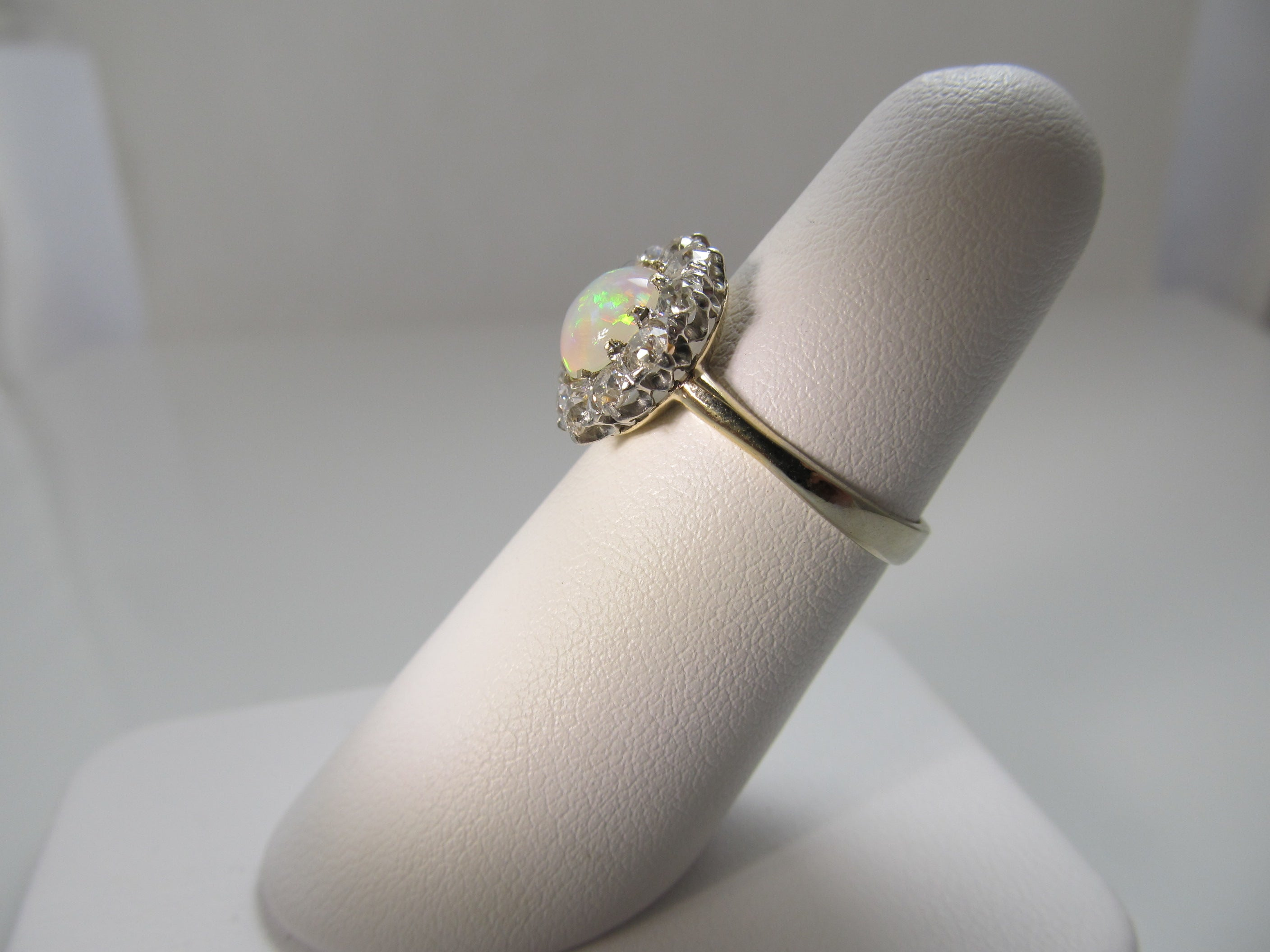 Antique platinum and 14k ring with opal and diamonds