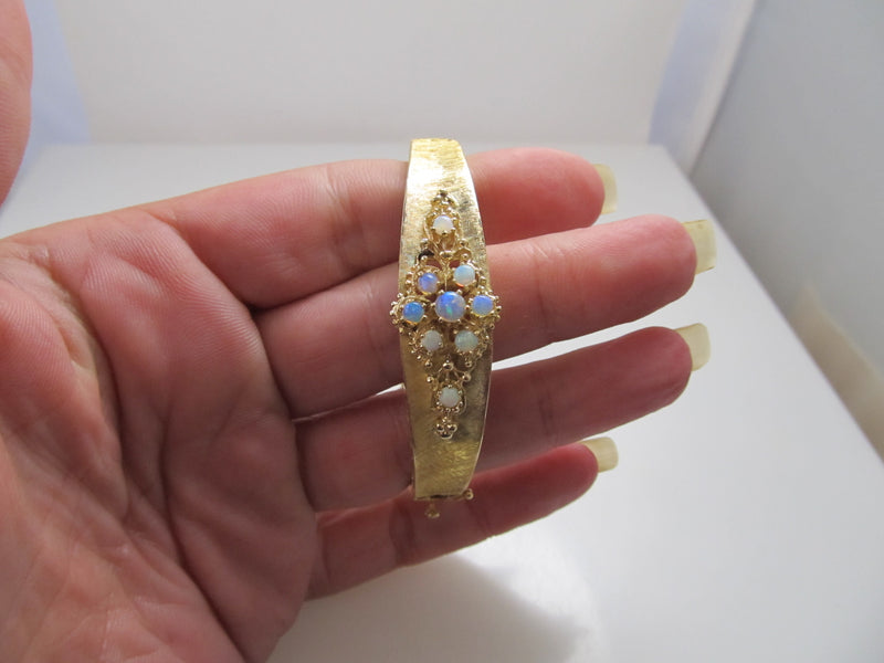14k yellow gold opal bangle bracelet