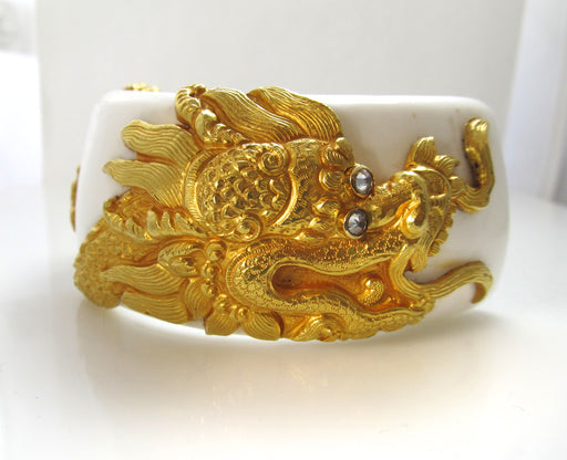 HUGE!  22k yellow gold dragon bracelet on shell with diamonds