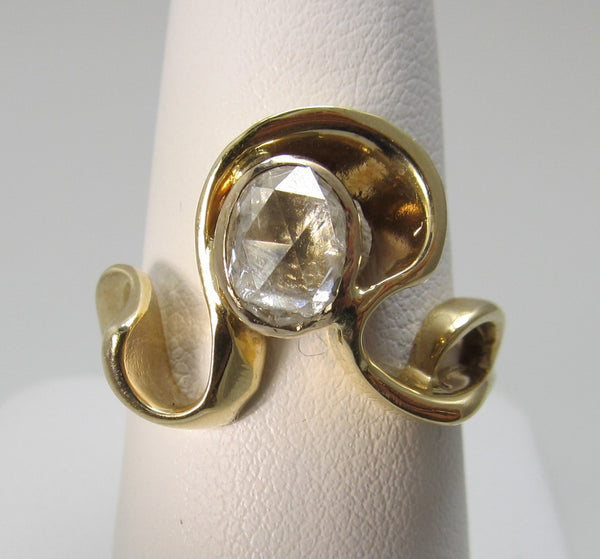 Modernist free form .75ct rose cut diamond ring