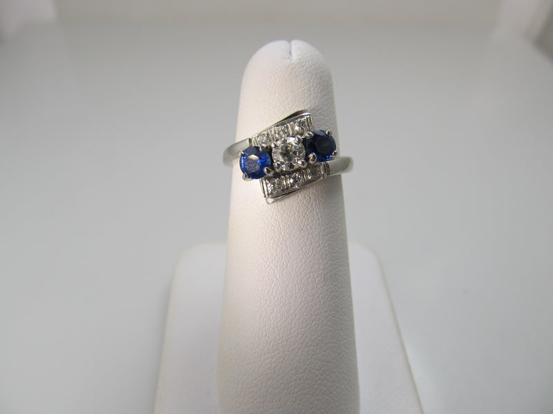 Vintage white gold sapphire and diamond ring