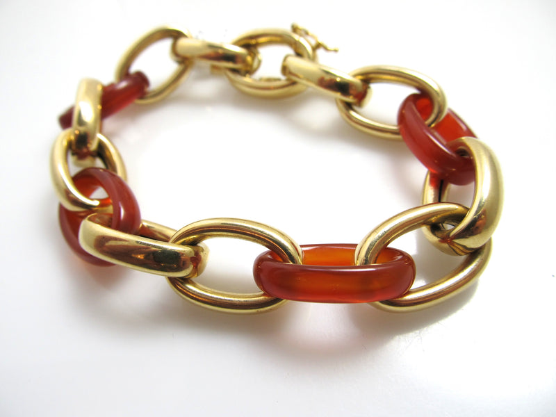 18k yellow gold carved carnelian link bracelet