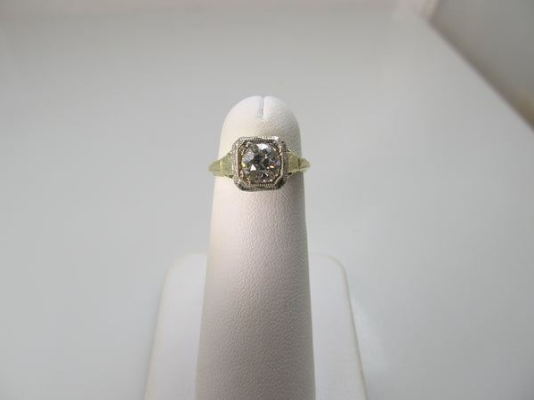 Antique yellow gold diamond engagement ring