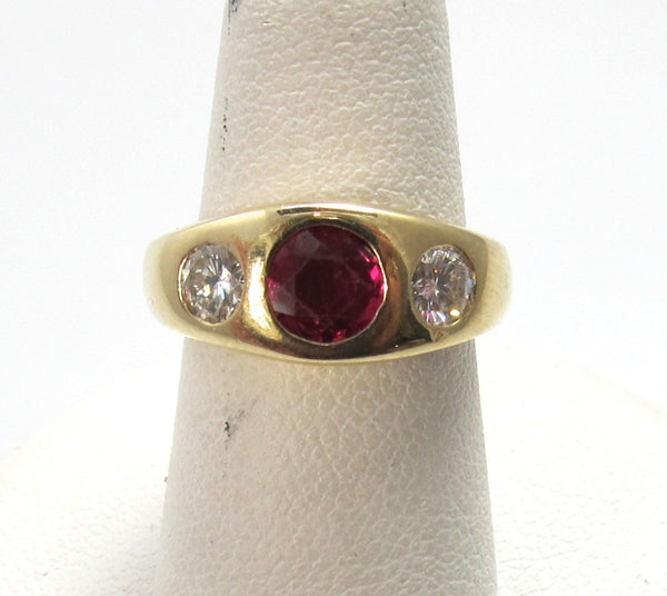 14k yellow gold ruby diamond gypsy ring