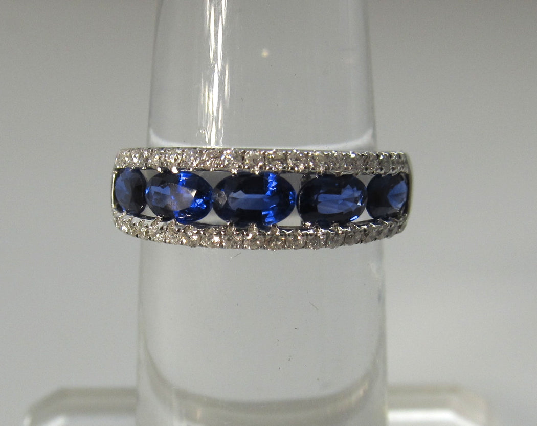 Bright blue sapphire diamond band, 18k white gold