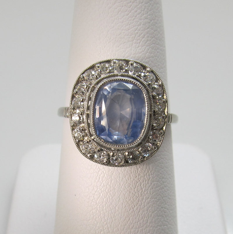 Antique platinum ceylon sapphire diamond ring