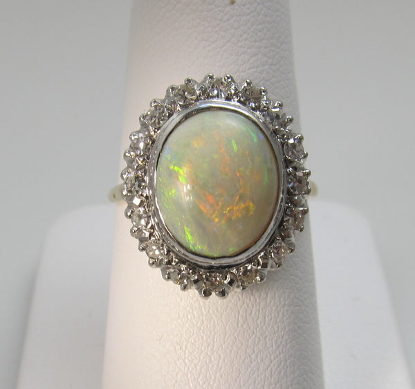 Vintage 14k yellow gold opal and diamond ring