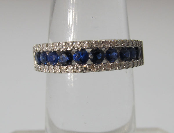 Estate 14k white gold sapphire and diamond band